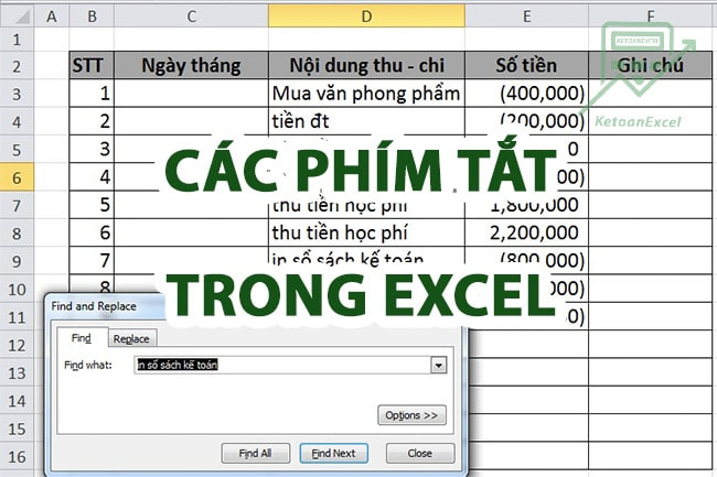 phim tat trong excel