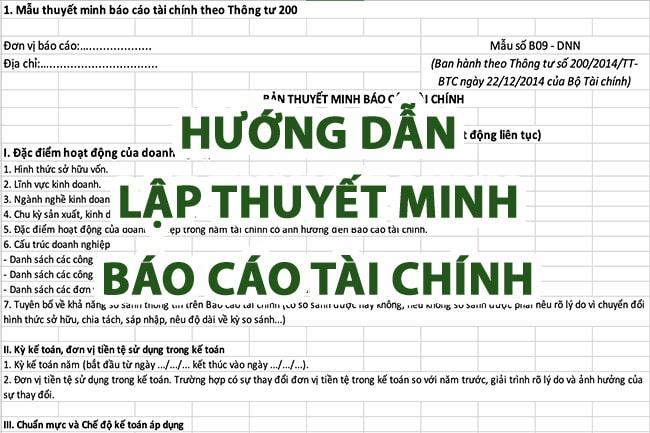 huong dan lap thuyet minh bao cao tai chinh